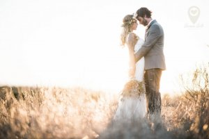 Ann Johnson Events Bohemian Santa Barbara Wedding Bride and Groom Sunset