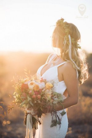 Ann Johnson Events Bohemian Santa Barbara Wedding Bride Sunset
